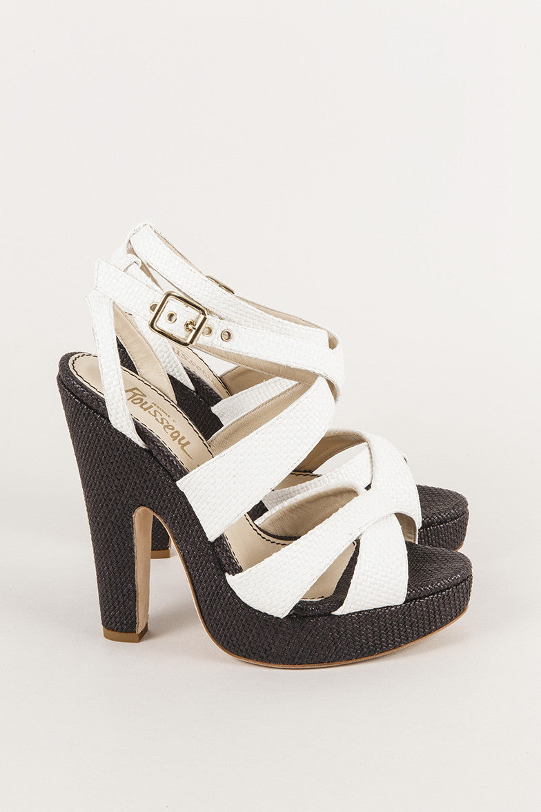 "New In Box Strappy Sandal ""Straw"" Pump Heels"