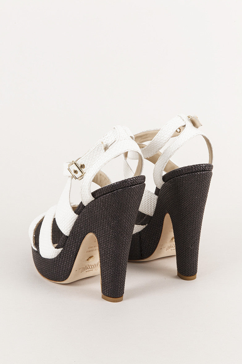 "New In Box Black and White Strappy Sandal ""Straw"" Pump Heels"