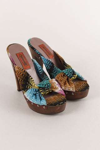 Brown and Multicolor Open Toe Leather Platform Slide Sandals