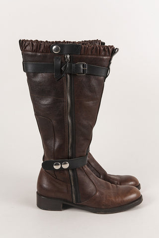 Leather Biker Boots With Fur And Ruffle