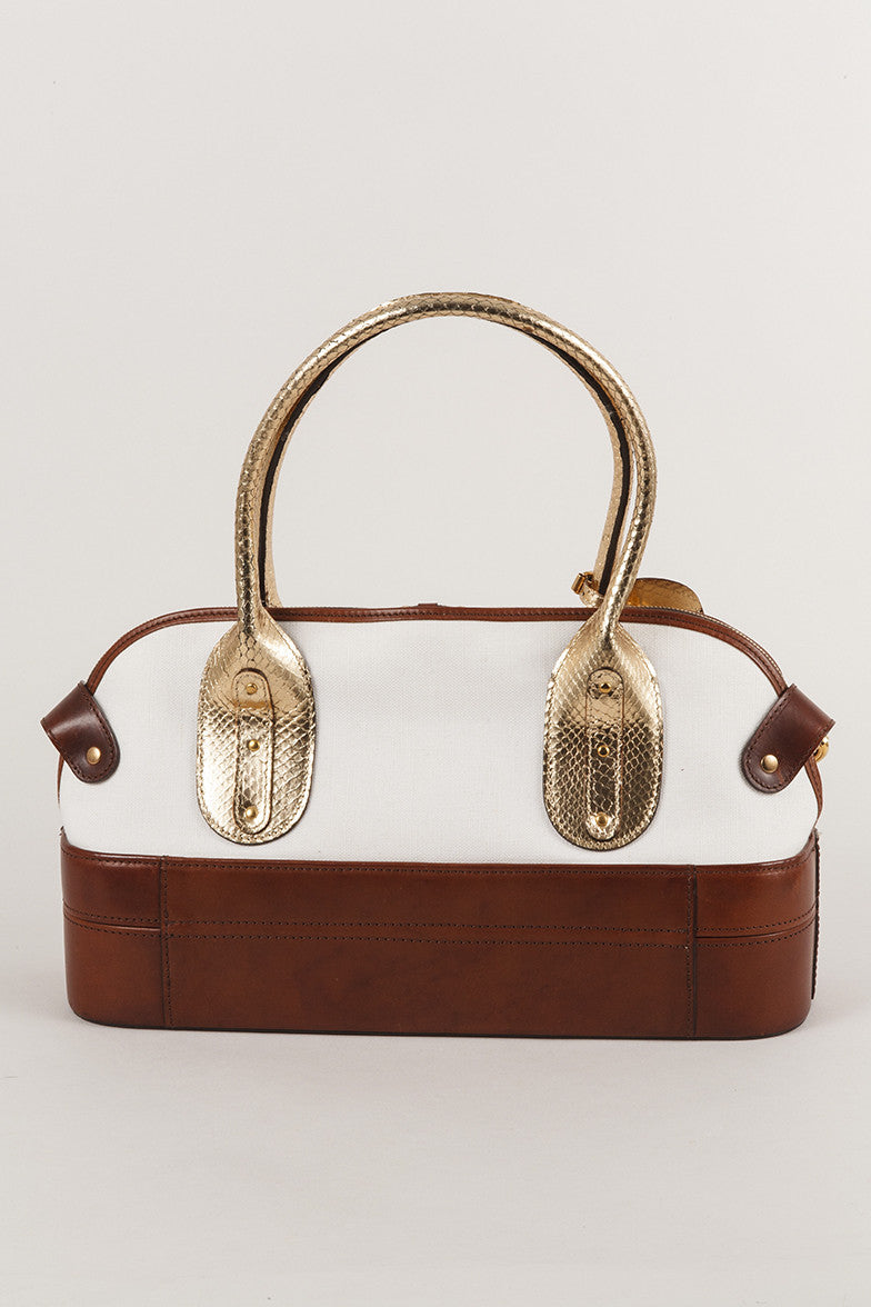 Canvas and Leather Hinged Buckle Satchel Bag