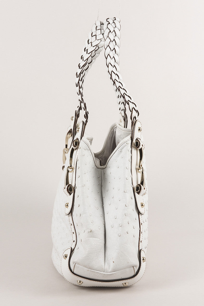 "White Ostrich Leather ""Pelham"" Shoulder Bag"