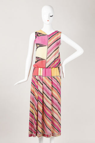 Multicolor Patterned Silk Tank and Shirt Set