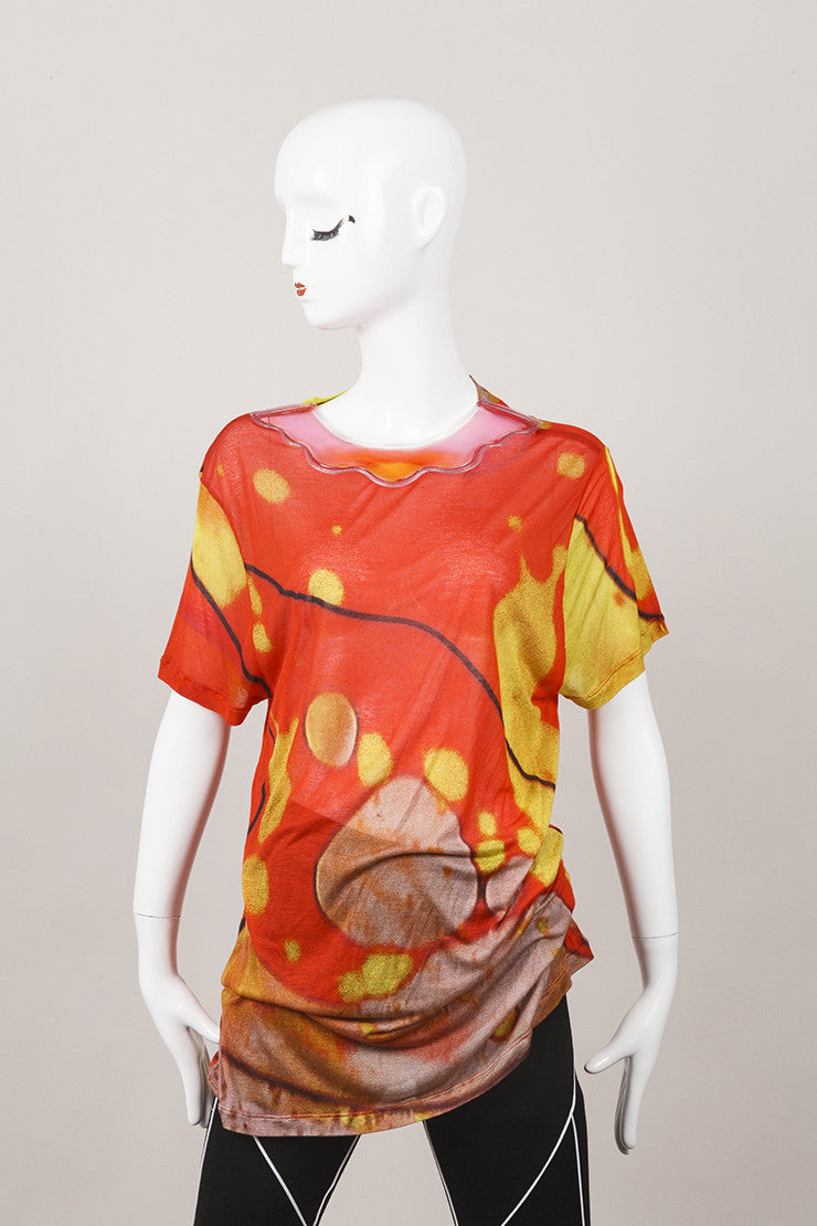 Orange and Yellow Christopher Kane Lava Print Gel Collar T Shirt