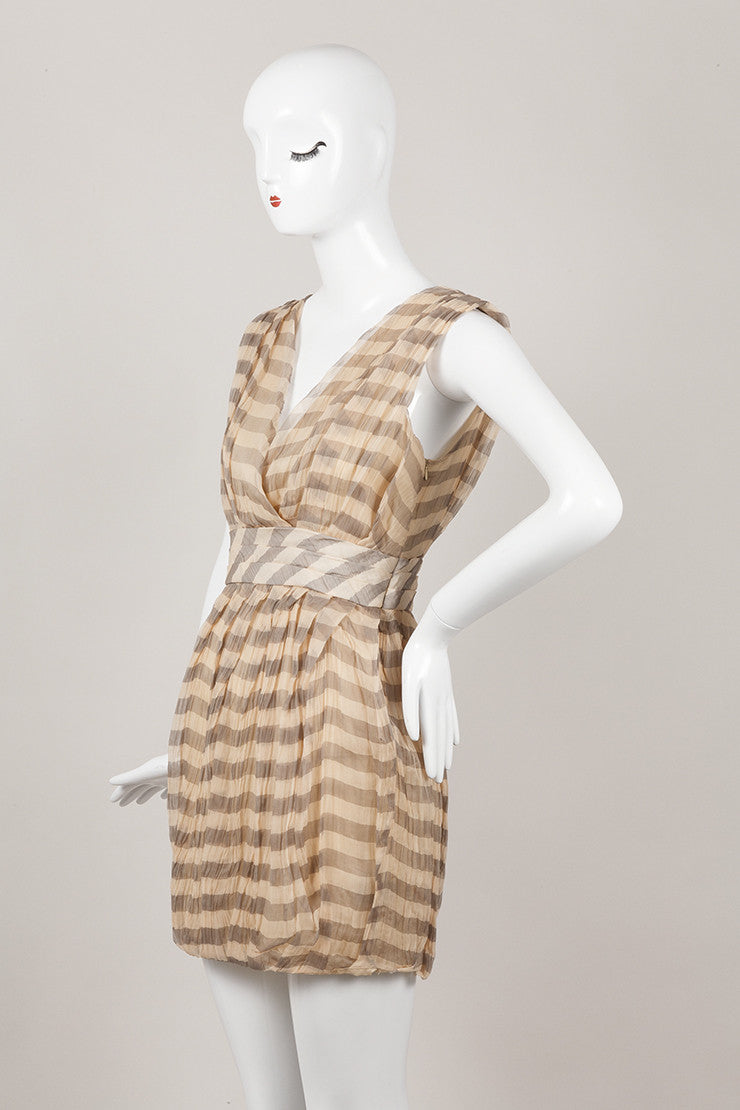 New With Tags Striped Crinkled Sleeveless Silk Dress