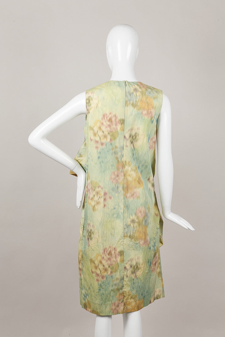 Multicolor Marni Floral Print Sleeveless Sculptural Dress