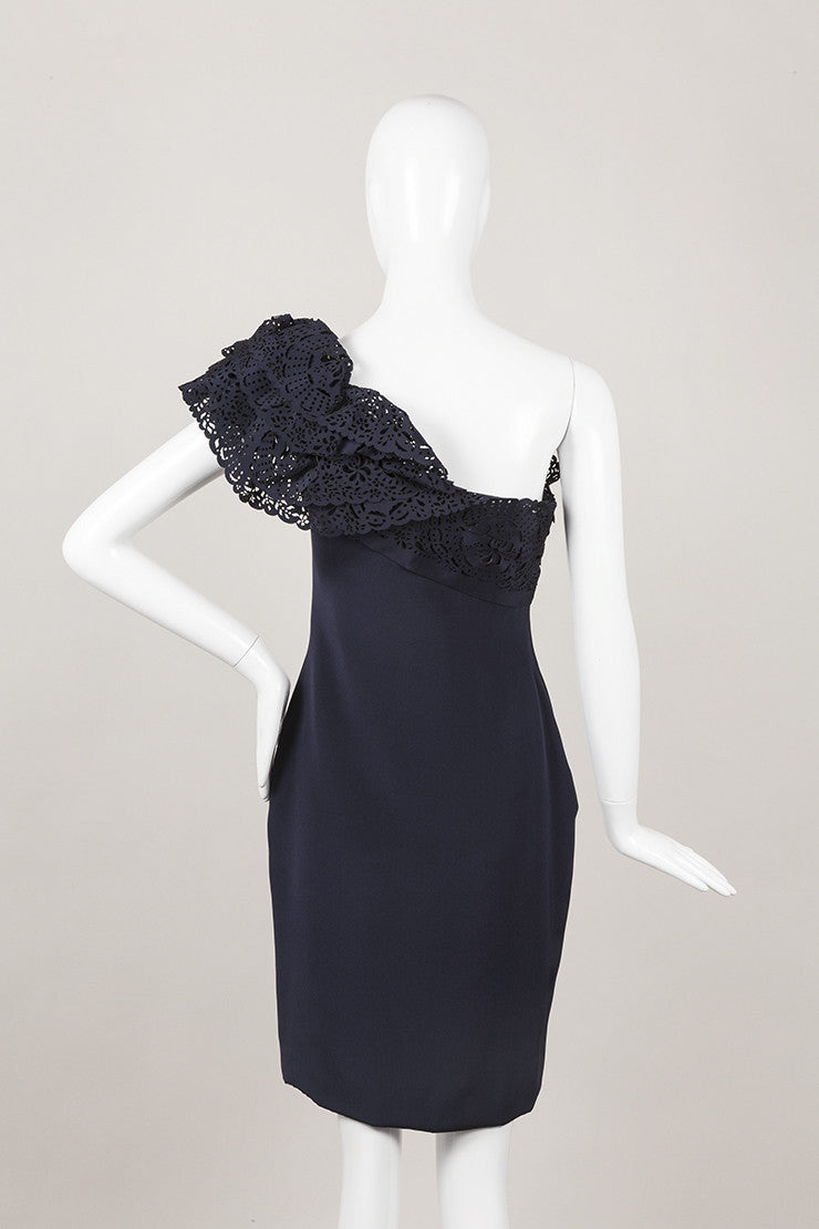 New With Tags Navy Blue Asymmetric Silk Dress
