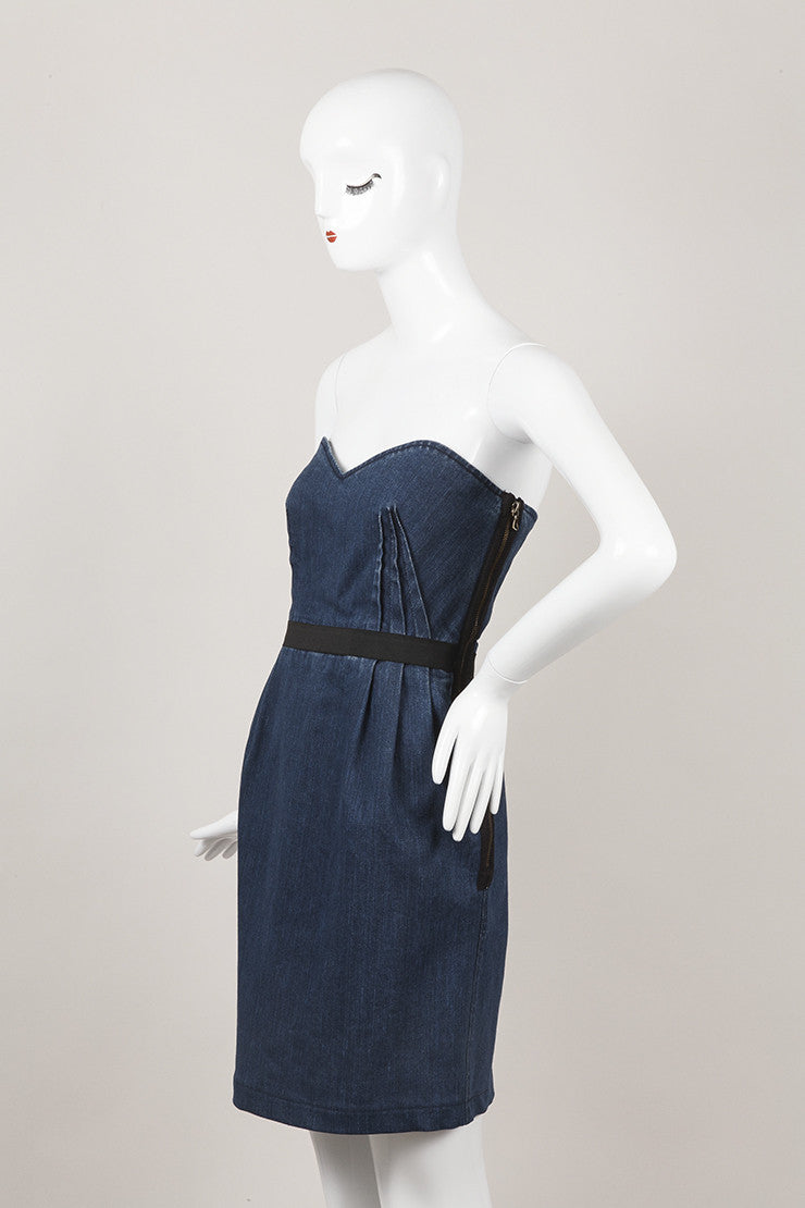 Blue Strapless Denim Dress