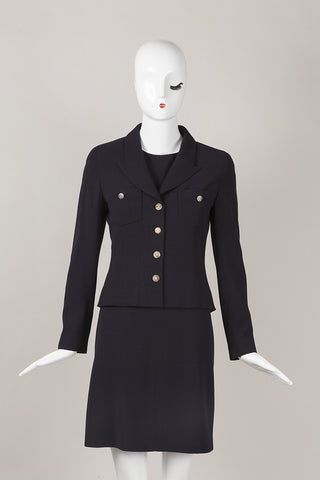 Navy Wool Dress and Jacket Suit Set