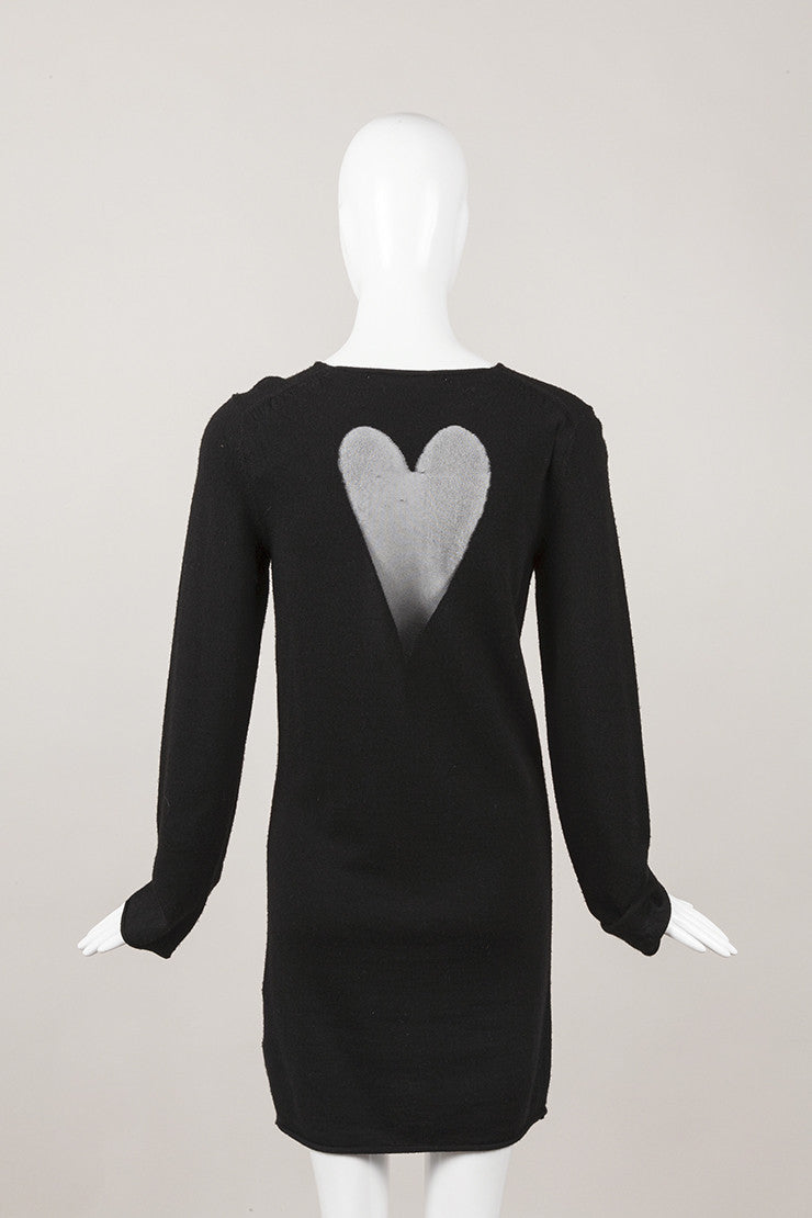 Black Wool Sweater Dress With Sheer Hearts