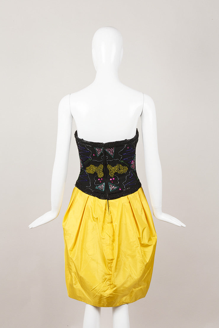 Black and Yellow Fabrice Strapless Embellished Dress