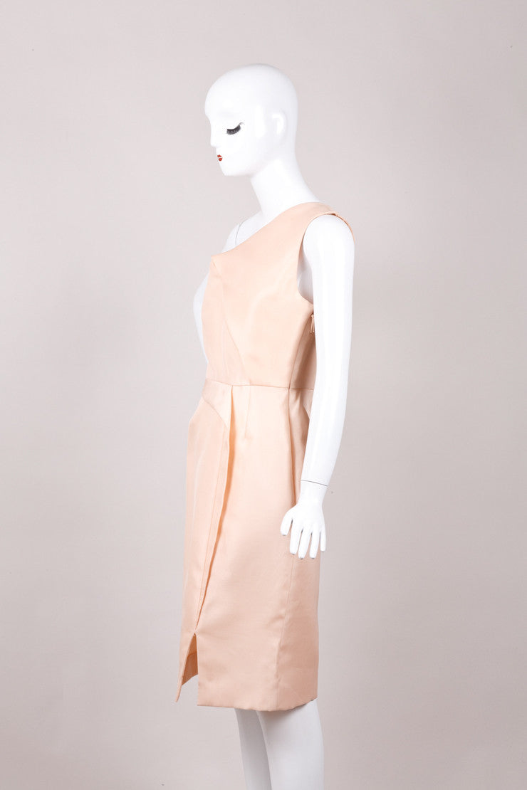 Peach J. Mendel One Shoulder Gazaar Sculpted Dress