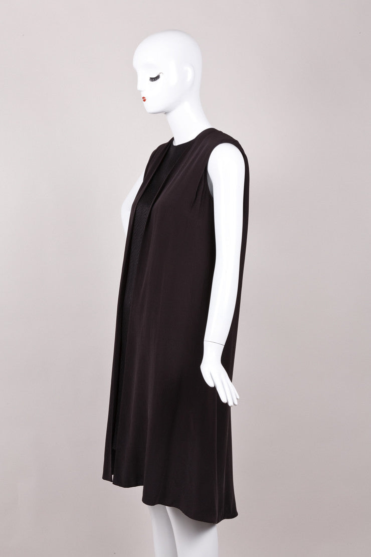 Black Silk Sleeveless Snakeskin Print Cape Dress