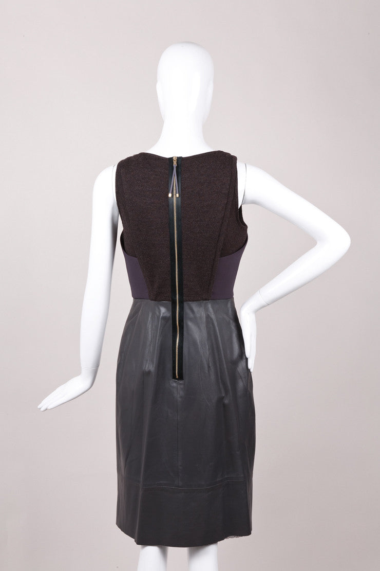 New With Tags Leather Inset Sleeveless Pleated Dress