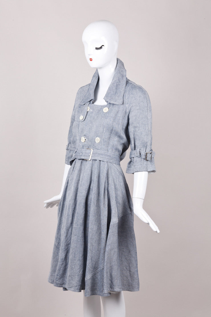 New With Tags Blue and White Striped Belted Linen Dress