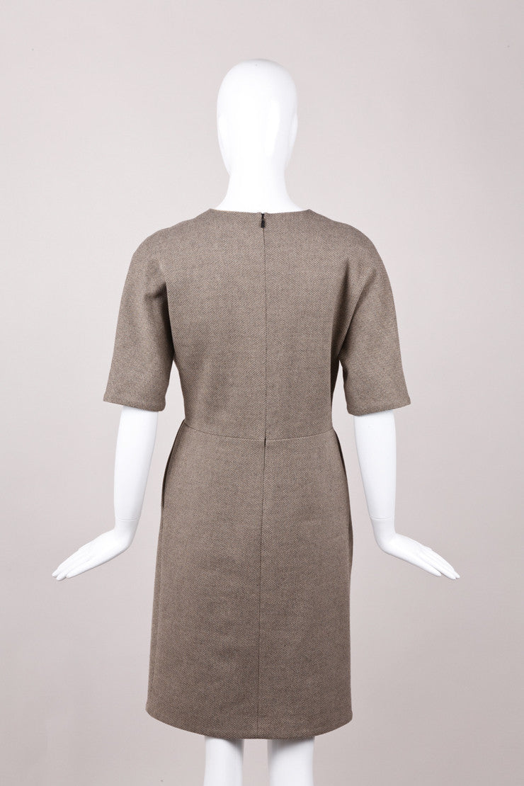 Knit Cotton and Wool Pleated Tie Dress