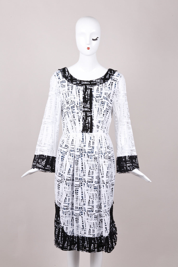 New With Tags Black and White Knit Cotton Dress