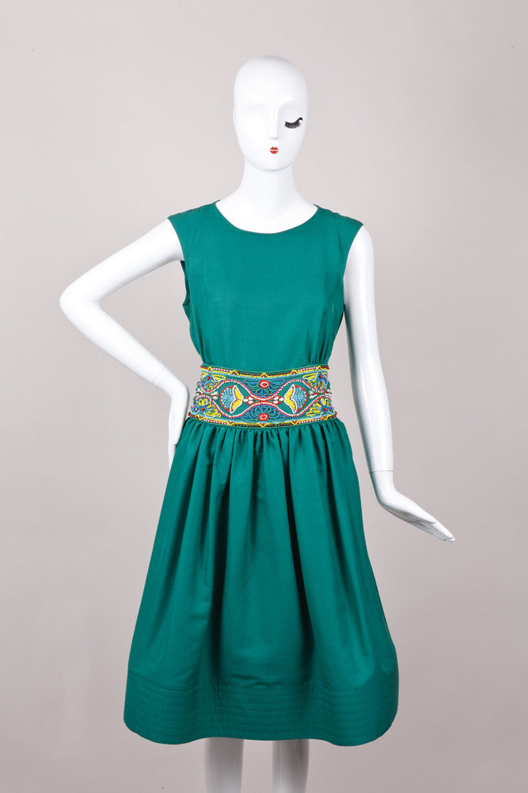 Green Sleeveless Beaded Embroidered Dress