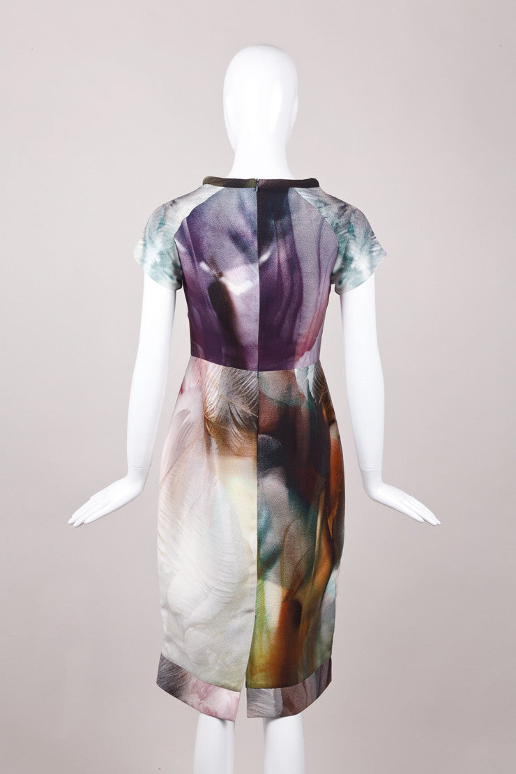 New With Tags Multicolor Printed Silk and Wool Dress