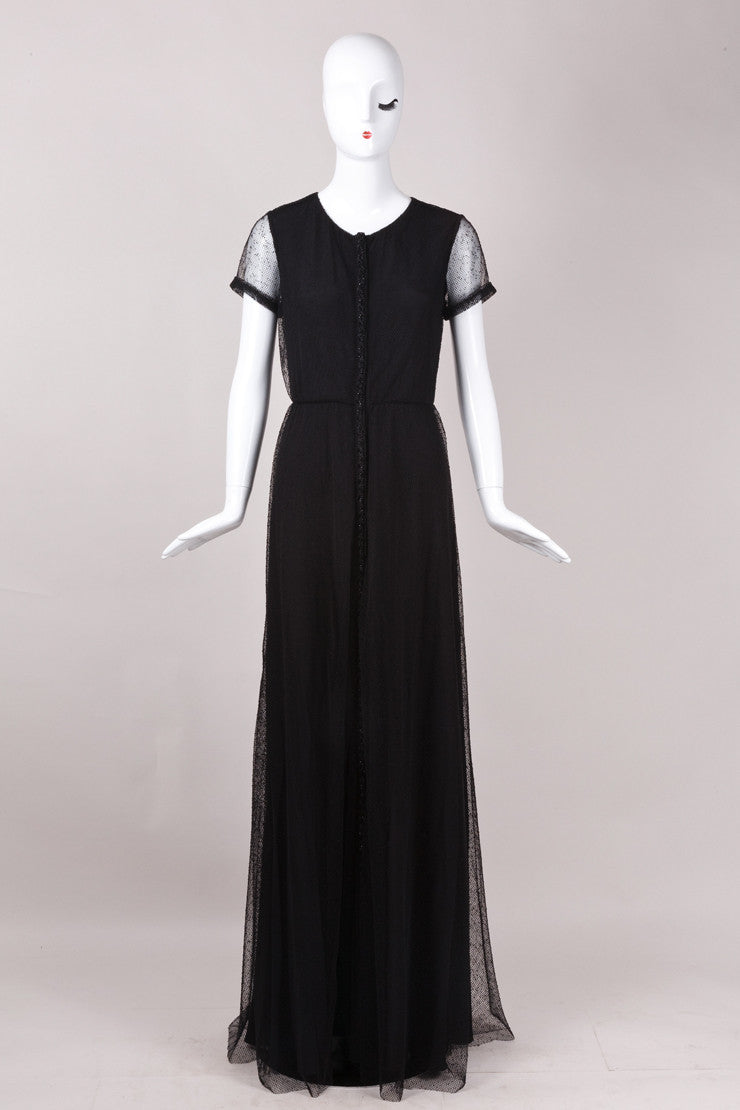 Black Holmes & Yang Net and Beaded Short Sleeve Gown