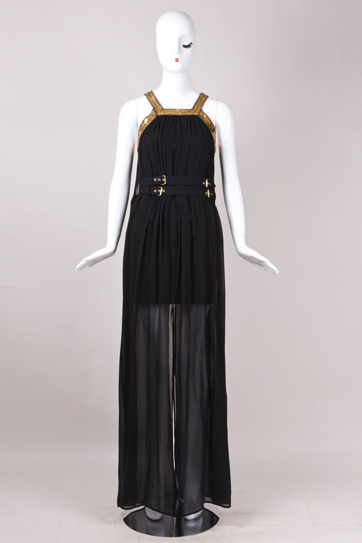 New With Tags Black And Gold Sleeveless Belted Silk Dress