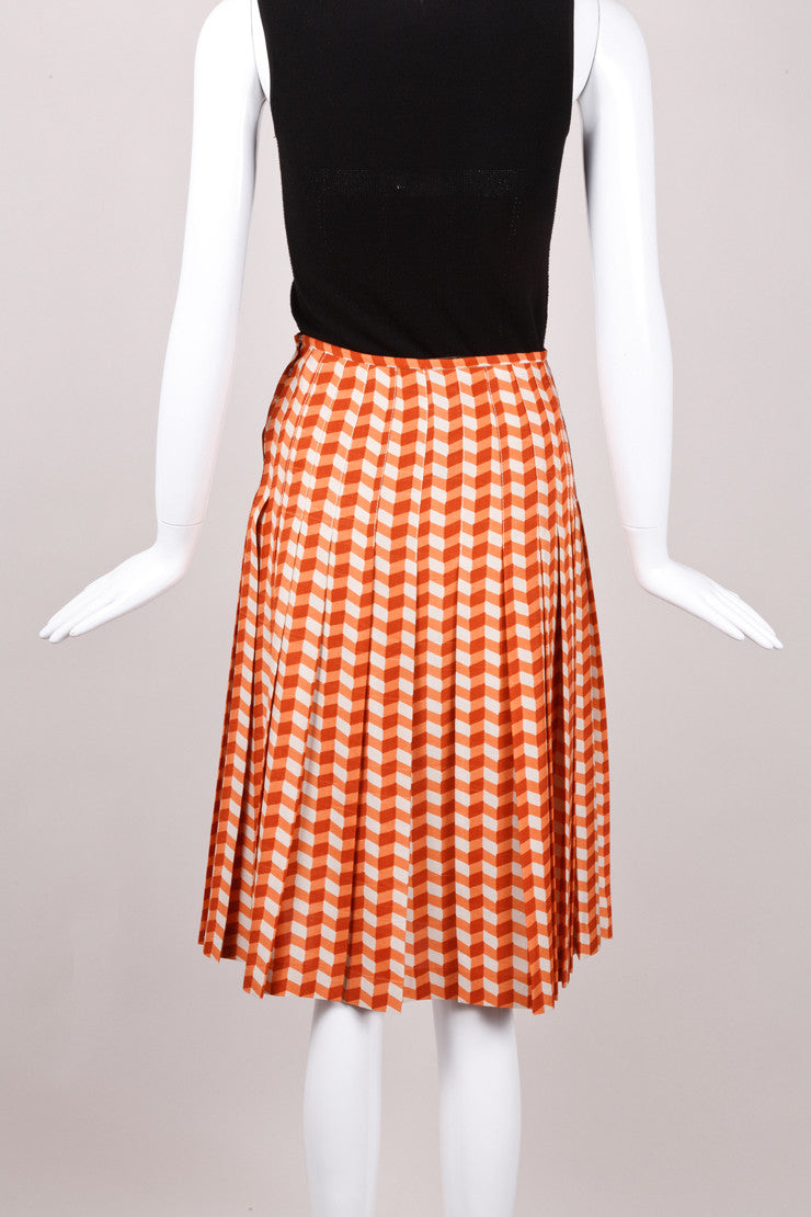 Orange Chevron Silk Skirt