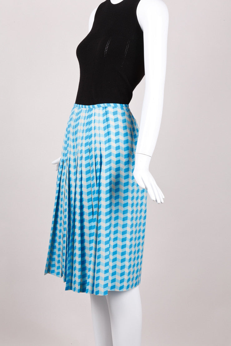 New With Tags Blue Chevron Silk Skirt