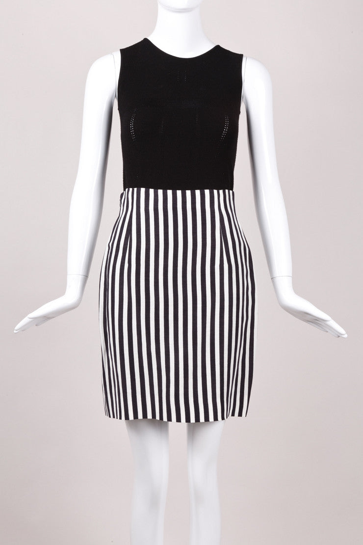Black and White Vertical Striped Silk and Linen Skirt