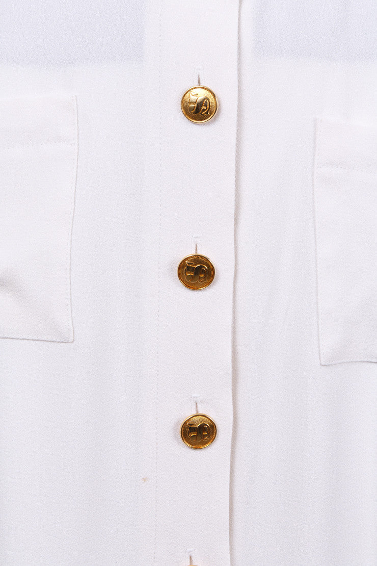 White Skirt With Gold Buttons