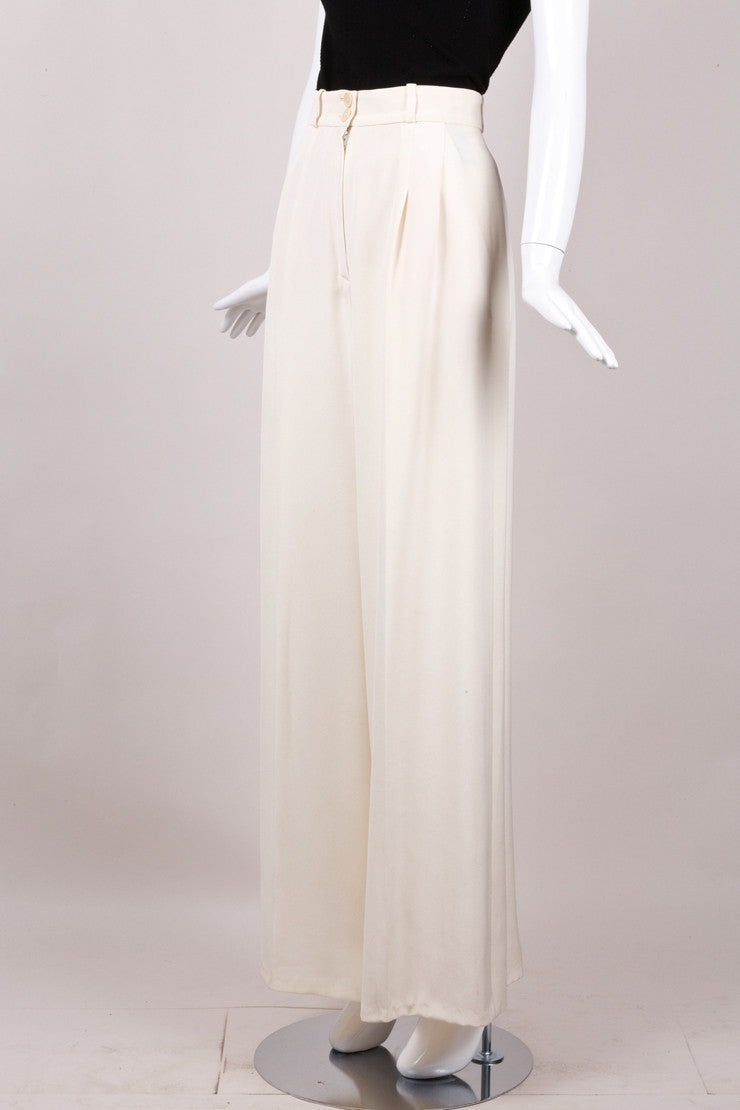 Ivory Silk Trousers