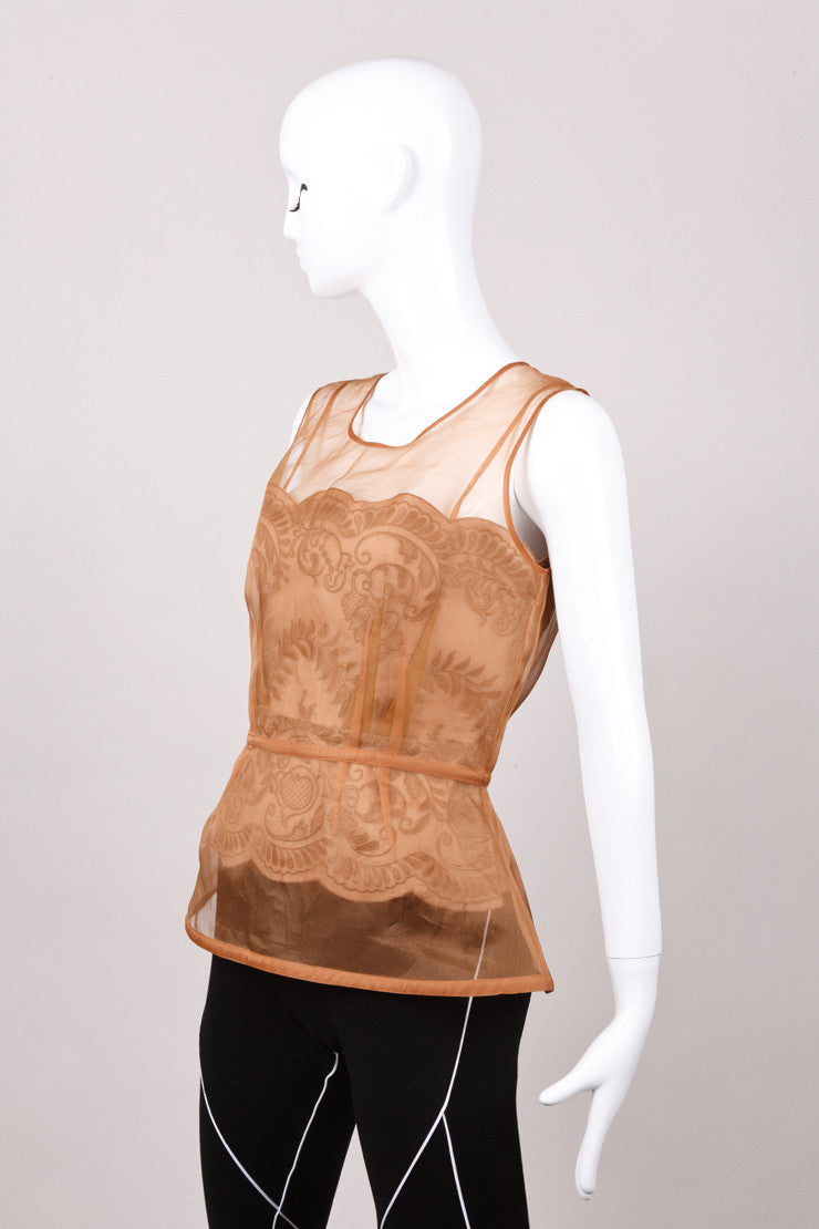 "New With Tags Tan Silk Embroidered ""Yenisea"" Peplum Top"