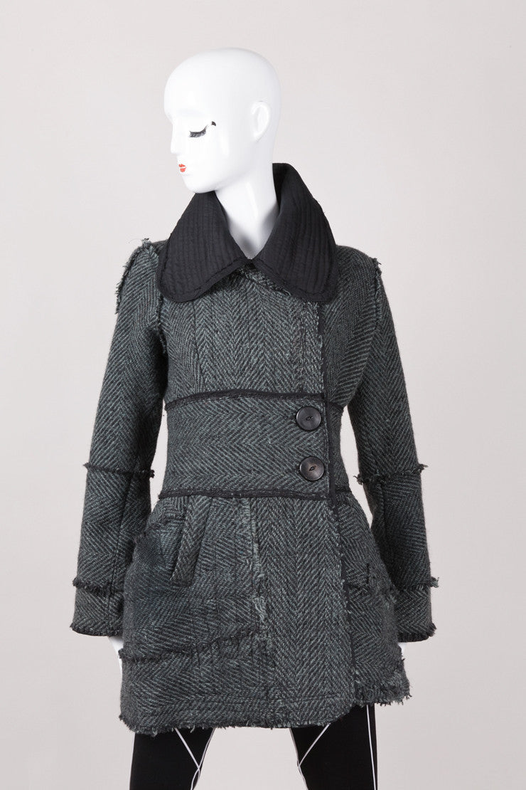 Black and Green Herringbone Tweed Coat