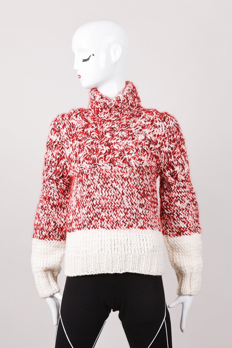 New With Tags Red and Cream Wool Knit Turtleneck Sweater