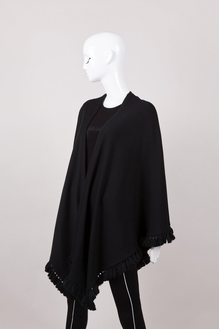 Black Wool Tassel Fringe Shawl