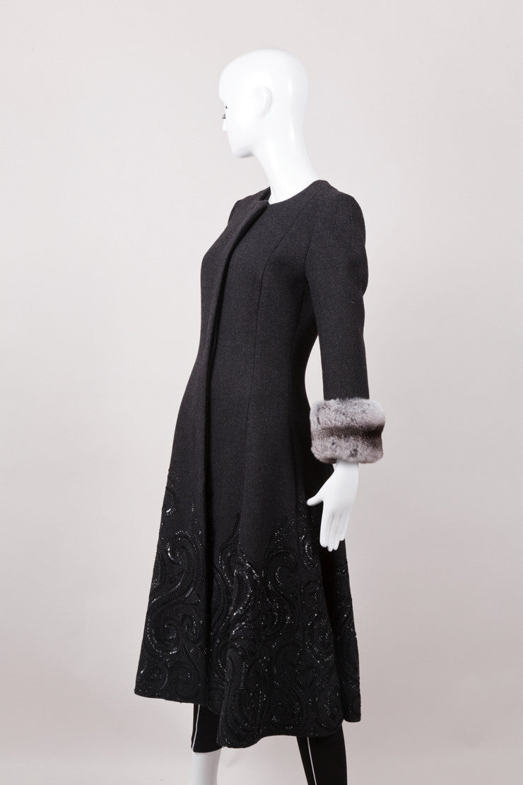 Black Beaded Peacoat With Chinchilla Fur Cuffs