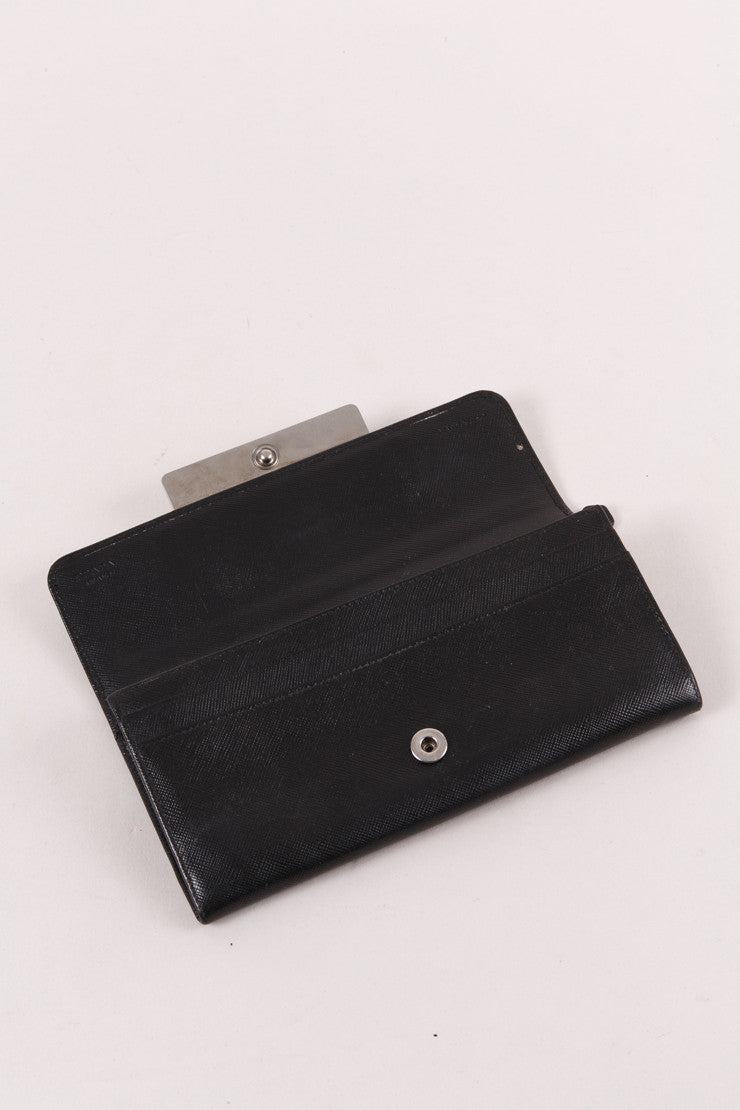 Black Leather Jeweled Continental Wallet