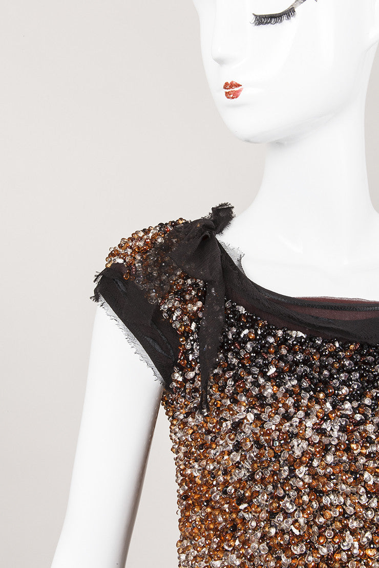 Black and Amber Silk Beaded Cap Sleeve Top