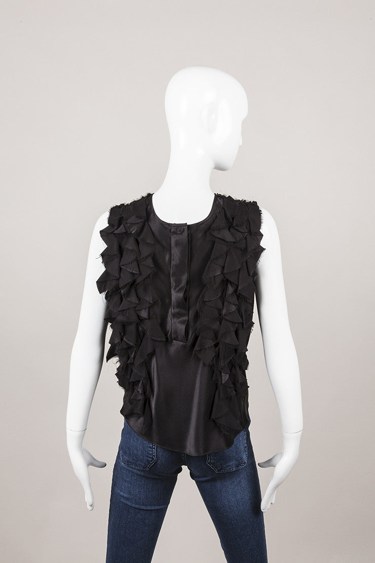 Black Ruffle Trim Sleeveless Top