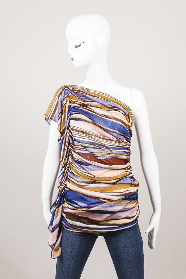 Blue, Pink, and Purple Missoni Striped Sheer Ruffle One Shoulder Top