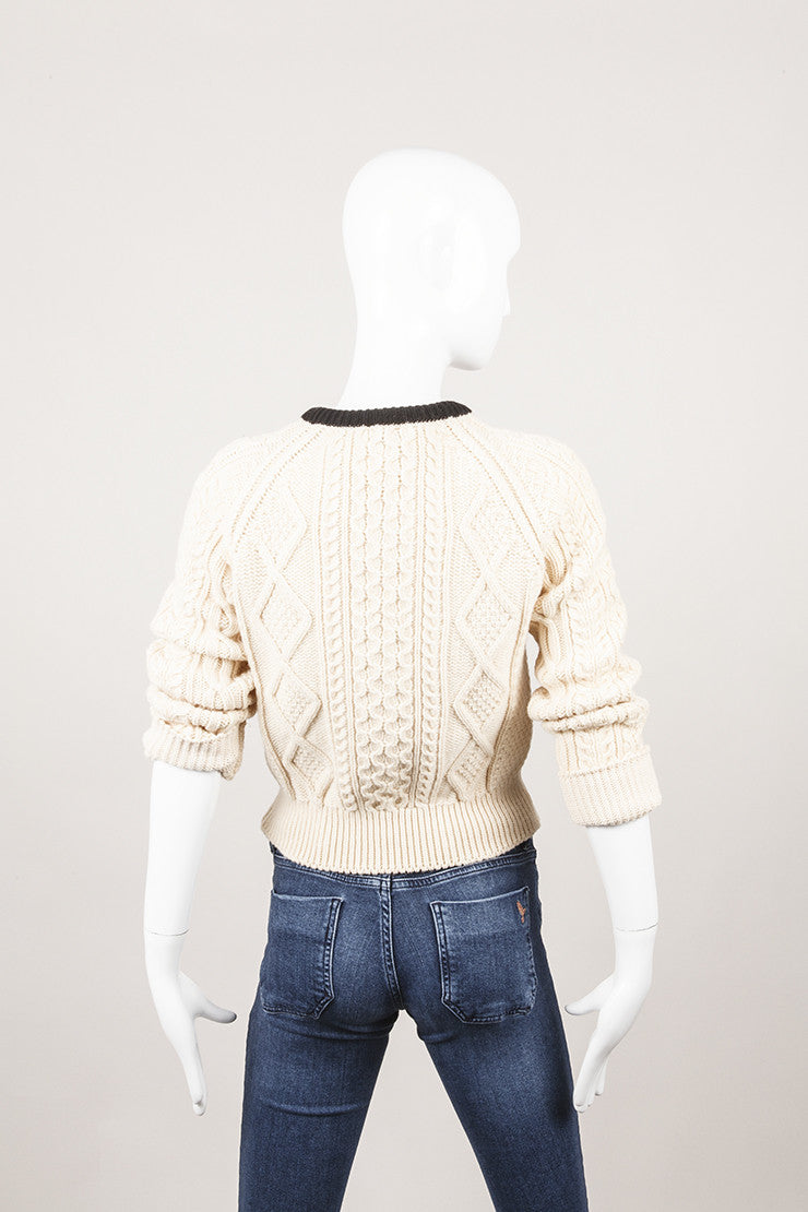 Cream and Black Chunky Cable Knit Wool Sweater