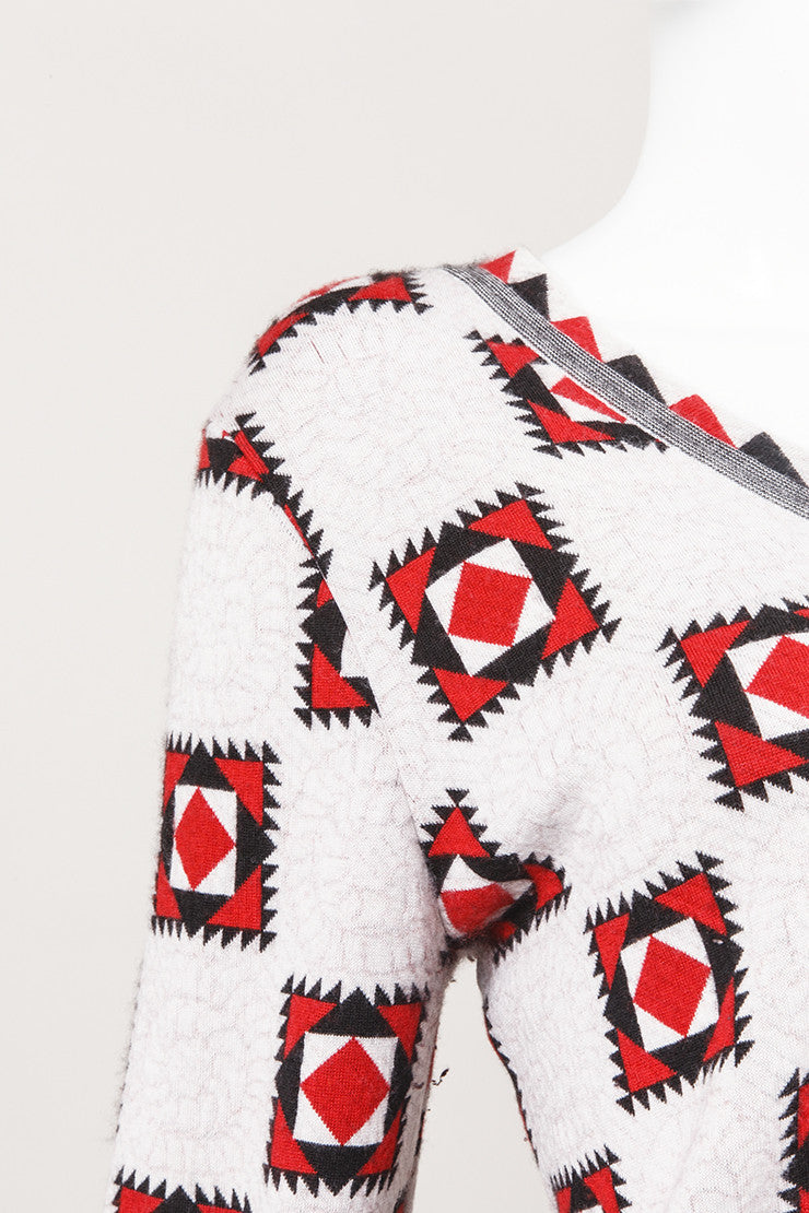 Red and Black Geometric Print Cashmere Sweater