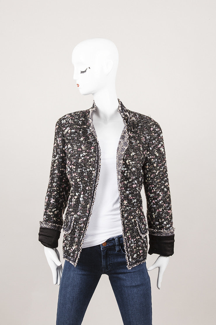 Wool Open Blazer With Flower Pin and Sequins