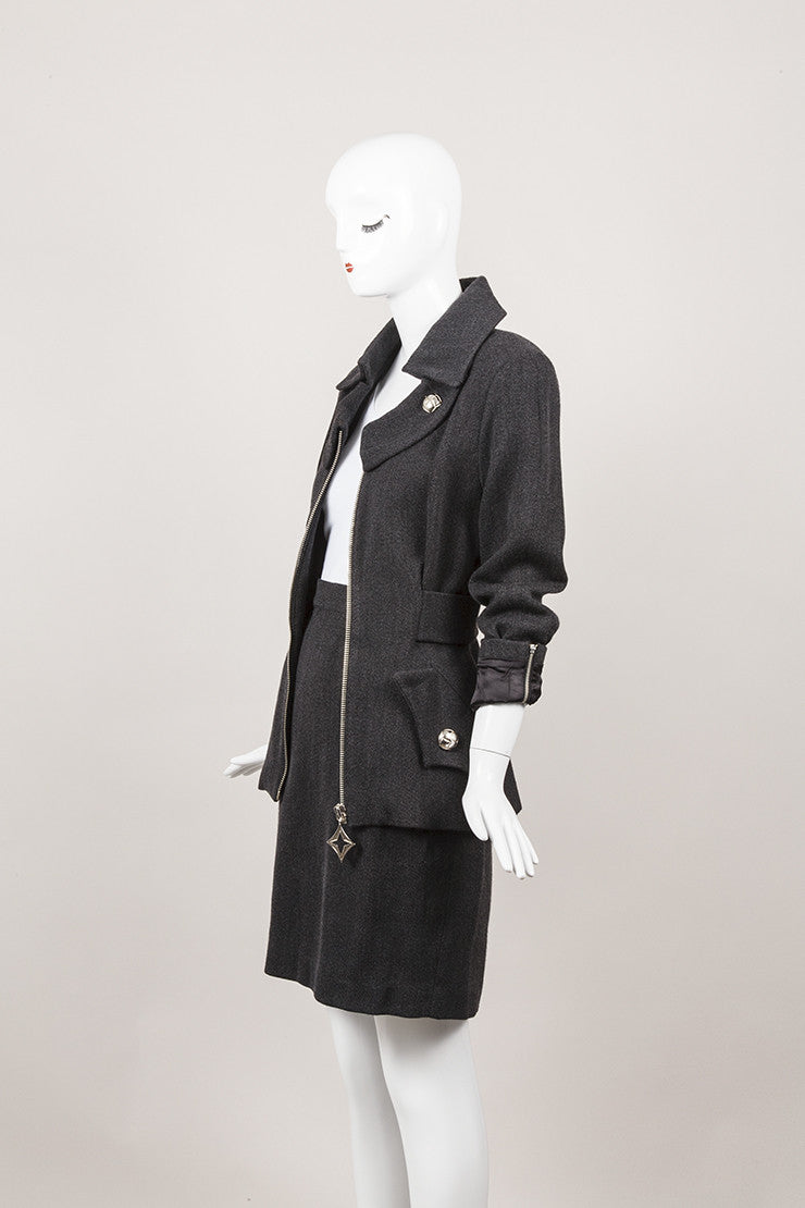 Wool and Cotton Skirt Suit With Silver Hardware