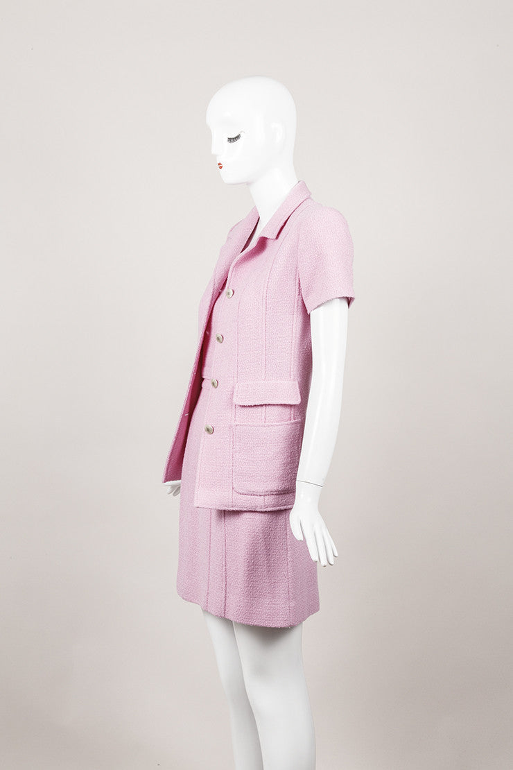 Lavender Three Piece Woven Wool Skirt Suit