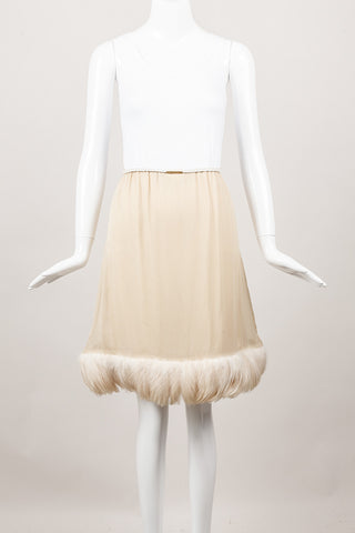 Beige Feather Trim Silk Skirt