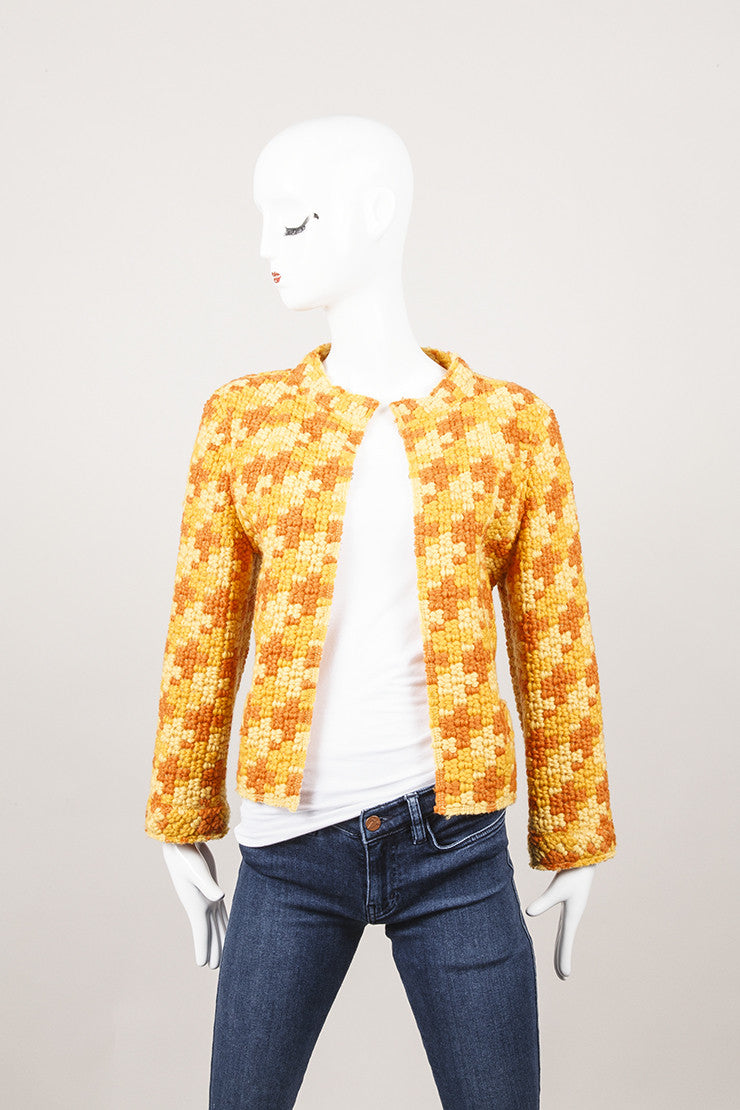 Orange Marc Jacobs Checkered Wool Knit Jacket