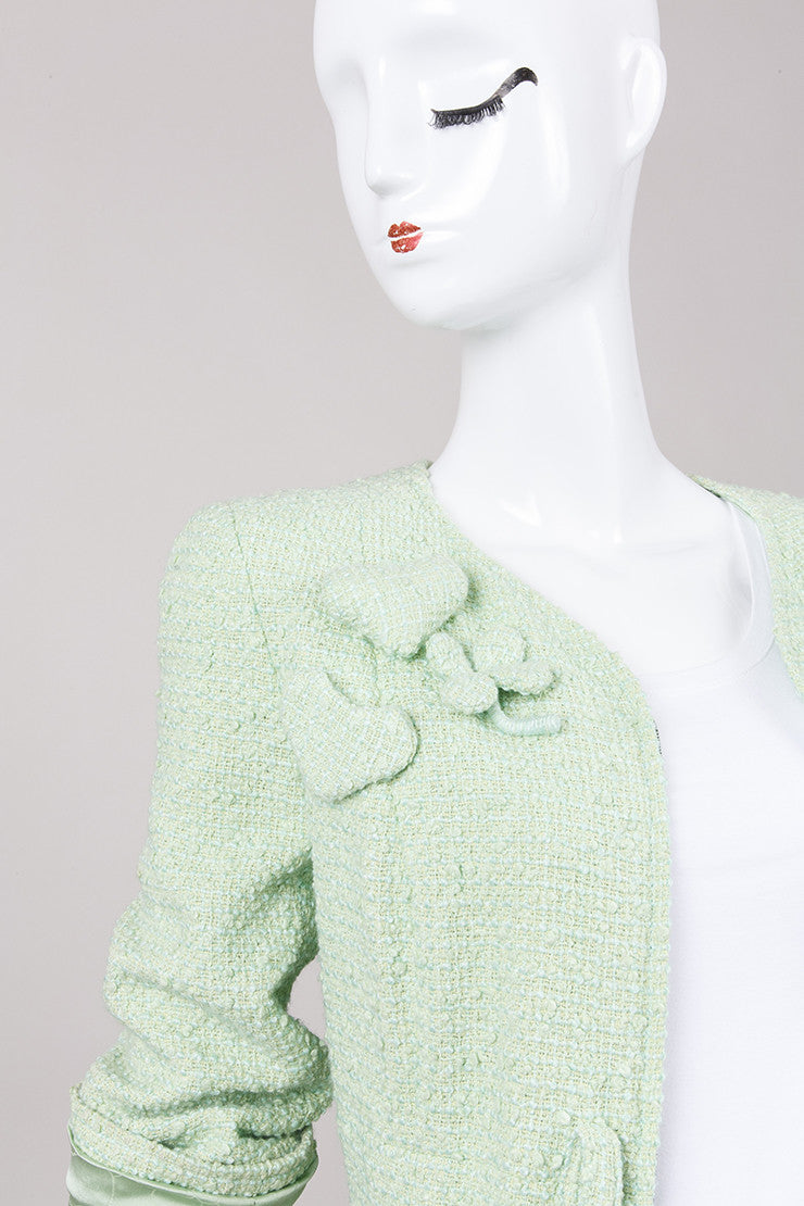Green Flower and Heart Appliquä??? Tweed Jacket