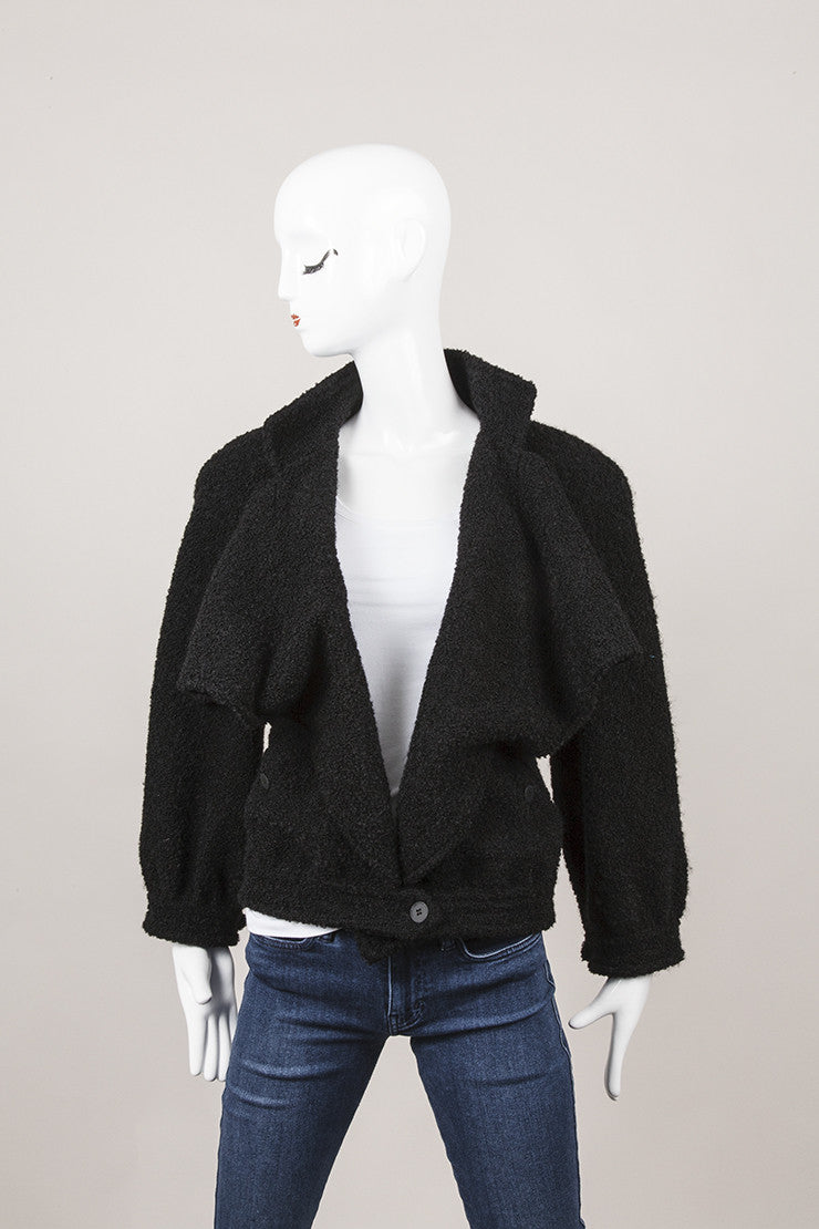 New With Tags Black Draped Wool and Mohair Jacket