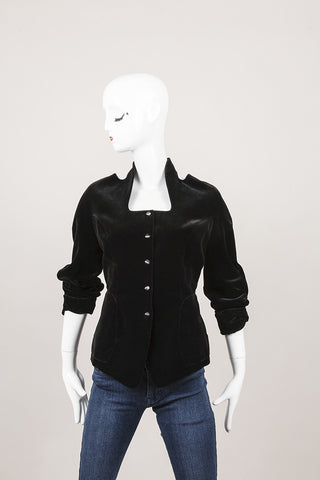 Black Velvet Cutout Snap Button Jacket