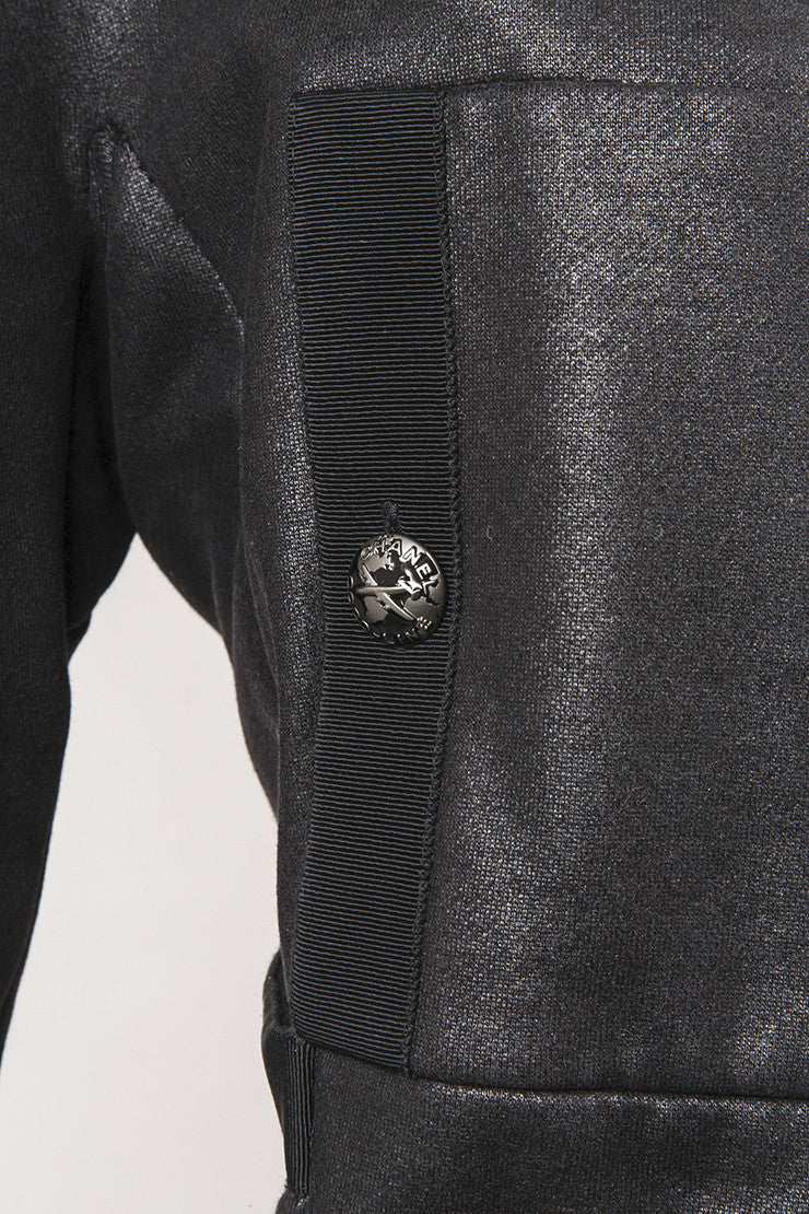 Black Cropped Knit  Cotton and Cashmere Airplane Jacket